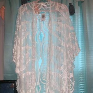 Torrid Plus size white lace kimono